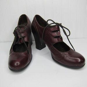 Born Rosel Mary Jane Style Burgundy Heels Size 8